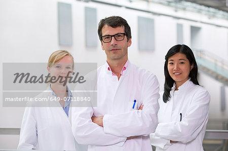 Portrait of group of  scientists in atrium