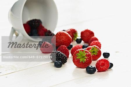 Strawberries, raspberries, blackberries and blueberries spilling form teacup