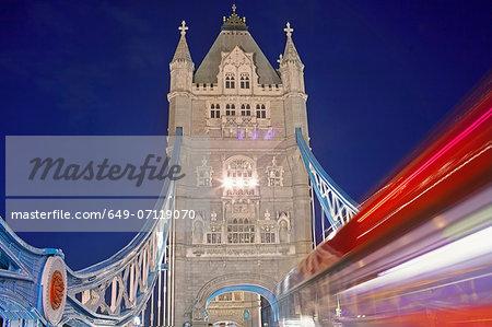 Tower Bridge and double decker bus, London, UK