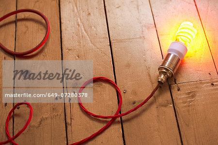 Still life of energy saving lightbulb on wooden floorboards