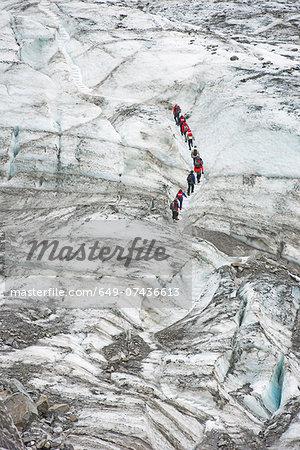 Walkers on Fox Glacier, South Island, New Zealand
