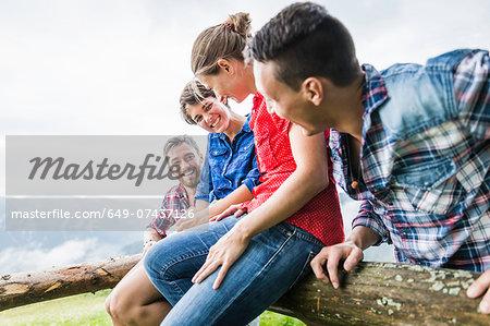 Four friends having fun, Tyrol Austria