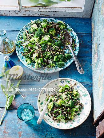 Wild rice, pea and broccoli salad