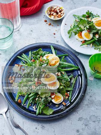 Bean, coriander, egg and almond salad