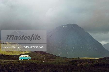 Campervan on the road in Scottish Highlands, Scotland