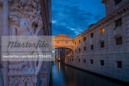 The Bridge of Sighs at dusk, Venice, Veneto, Italy