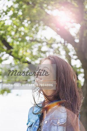 Teenager enjoying  breeze