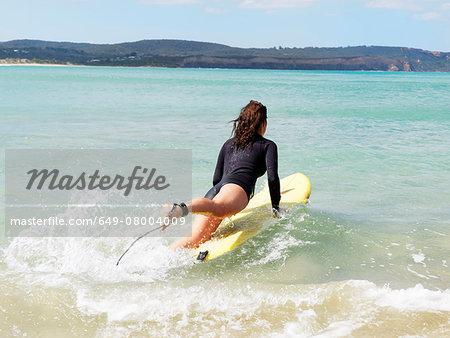 Surfer in sea, Roadknight, Victoria, Australia