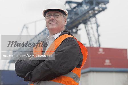 Portrait of dock worker at port