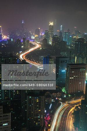 Elevated view of Shanghai city at night, Shanghai, China