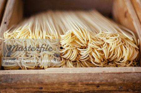 Box of fresh artisan spaghetti, Tuscany, Italy