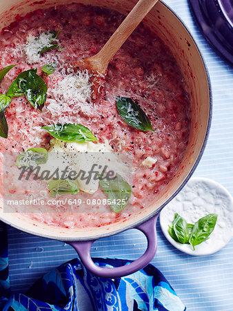 Still life of  Italian strawberry risotto (risotto alle fragole)