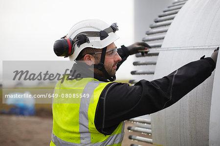 Engineer working on wind turbine