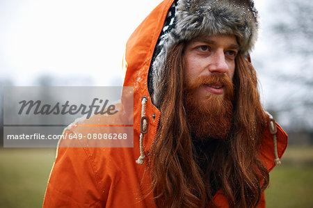 Man in trapper hat
