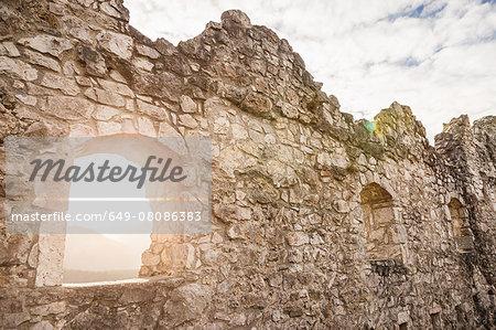 Sunlit window of Ehrenberg castle ruins, Reutte, Tyrol, Austria