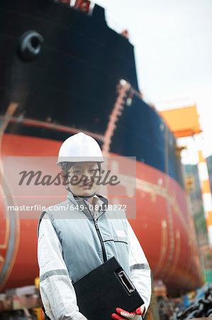 Portrait of female worker at shipyard, GoSeong-gun, South Korea