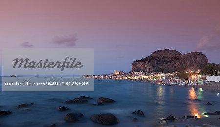 Cefalu at dusk, Palermo, Sicily, Italy