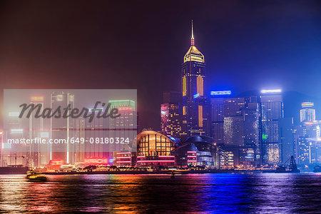 Skyline at night. Hong Kong, China