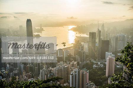 Aerial view at sunrise, Hong Kong, China