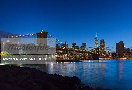 Manhattan financial district and Brooklyn bridge at night, New York, USA
