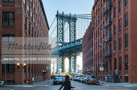 Manhattan Bridge and apartment buildings, New York, USA