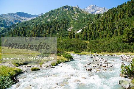 High angle view of tree covered mountain and river running through Zillertal High Alpine nature park, Hochgebirgs Naturpark, Tirol, Austria