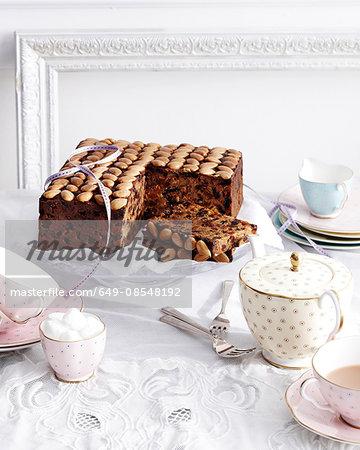 Gran marnier fruit cake on traditional tea table