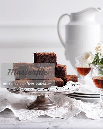 Mississippi mud cake on traditional tea table