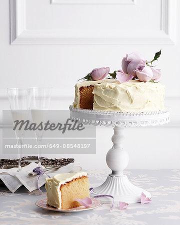 White chocolate mud cake on traditional tea table