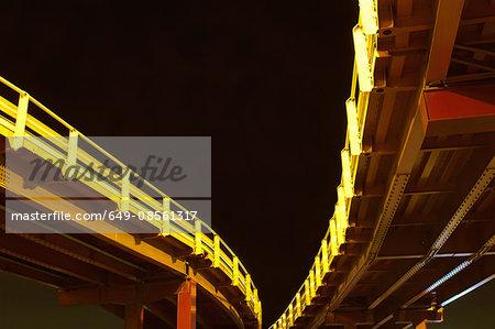Urban bridges lit up at night
