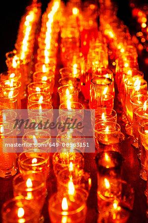 Votive candles, close up