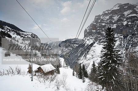 Wooden chalet,and cable wires, Schilthorn, Murren, Bernese Oberland, Switzerland