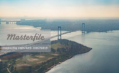 Aerial view of bridge crossing East river, New York, USA
