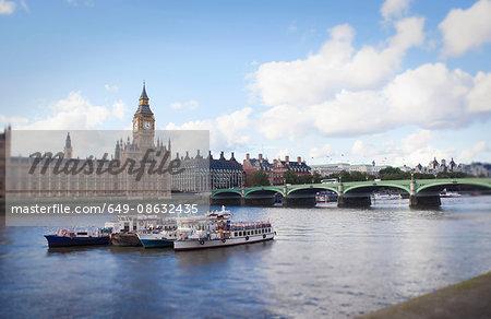 Bridge and buildings on urban river