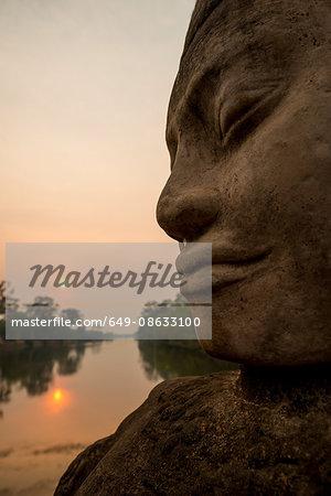 Face of Deva, Southern Gate, Angkor Thom, Angkor, Siem Reap, Cambodia, Indochina, Asia