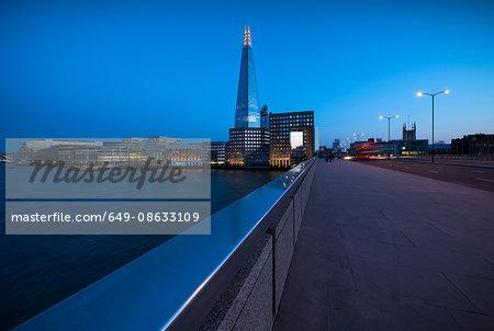 London bridge and the shard at night, London, UK