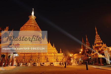 Shwezigon Pagoda at night, Bagan, Burma