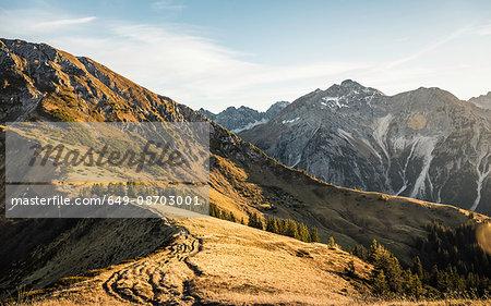 Mountain biking area, Kleinwalsertal, trails below Walser Hammerspitze, Austria