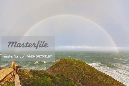 Rainbow over ocean, Trenance, Cornwall, UK