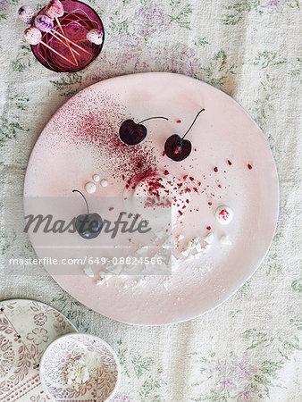Nouvelle cuisine dessert with cherries
