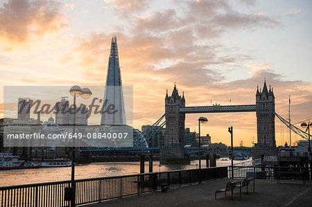 Tower Bridge, The Shard and City Hall, Wapping, London, UK