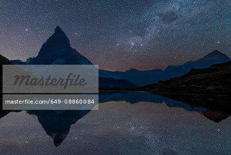 The Matterhorn under starry sky, Zermatt, Switzerland
