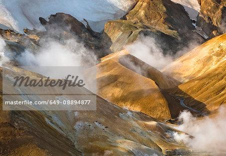 Geothermal smoke rising from mountains, Kerlingarfjoll, Iceland
