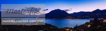 View of mountains across Lake Como, Varenna, Italy