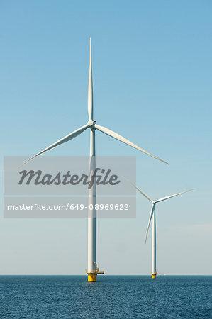 Off shore wind turbines on IJsselmeer lake, Netherlands