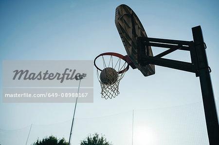 Low angle view of basketball net