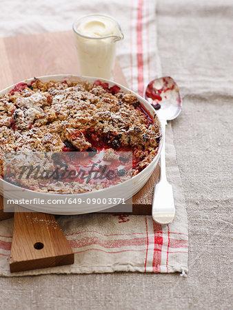 Bowl of baked fruit crisp