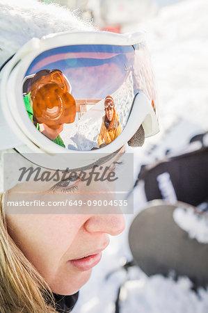 Close up portrait of female skier Kitzbuhel, Tyrol, Austria