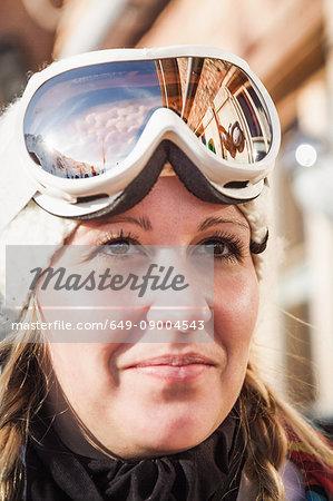 Close up portrait of young female skier, Warth, Vorarlberg, Austria