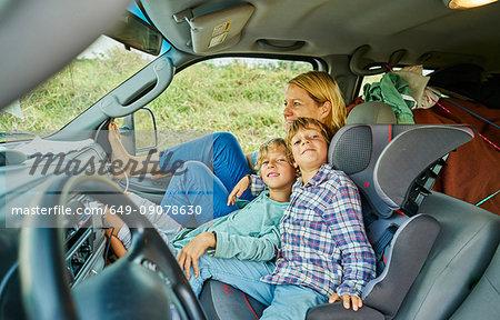 Family on road trip relaxing in campervan, Bonito, Mato Grosso do Sul, Brazil, South America
